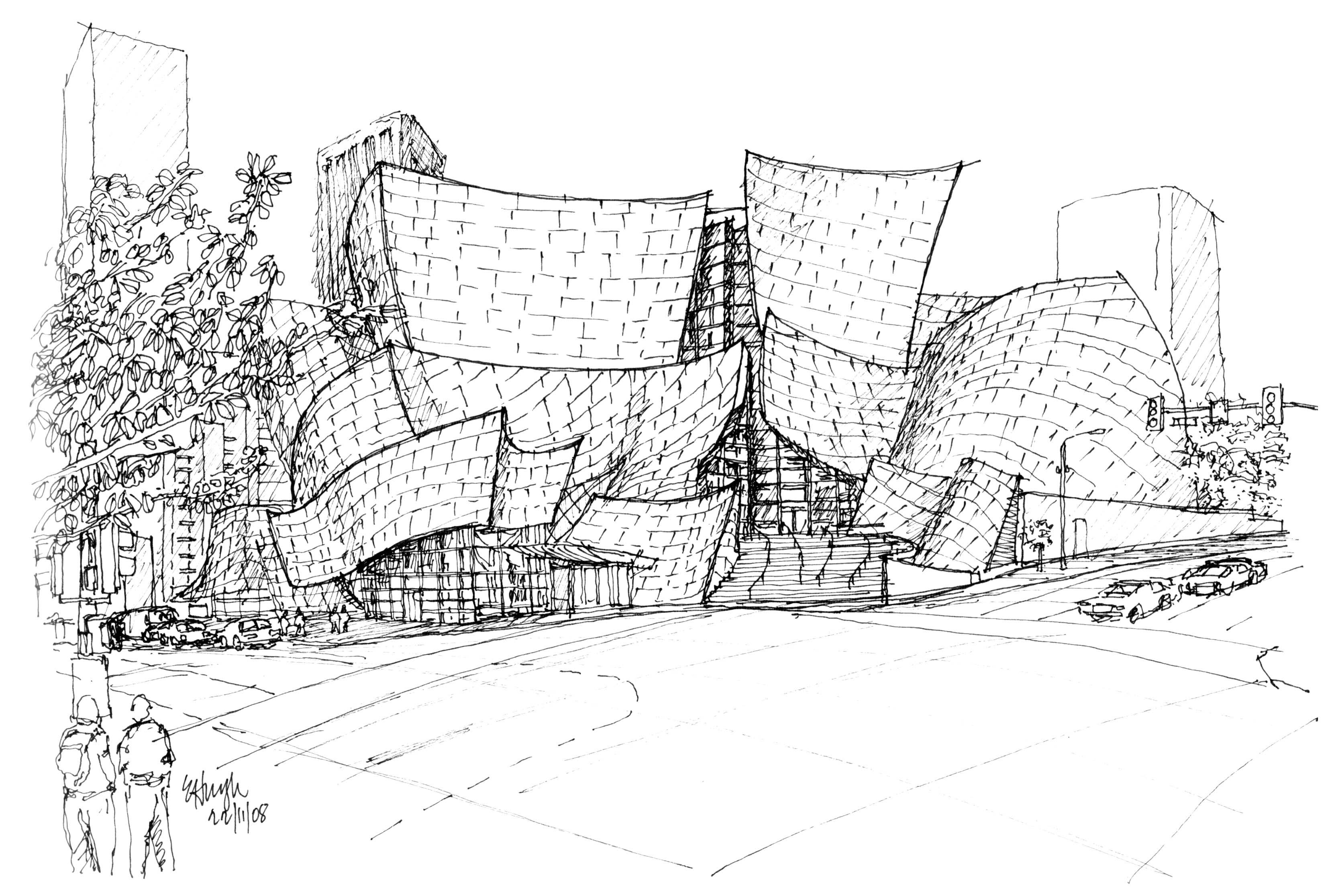 Walt Disney Concert Hall Floor Plan Sketching To Capture The Essence Of An Iconic Design