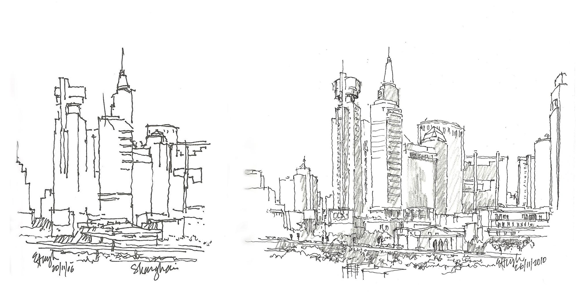 shanghai skyline sketches 2006 2010 sketchingjourney. Black Bedroom Furniture Sets. Home Design Ideas